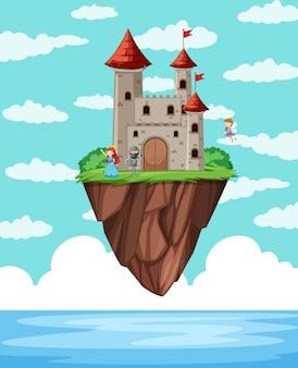 Uma ilha do castelo acima do oceano