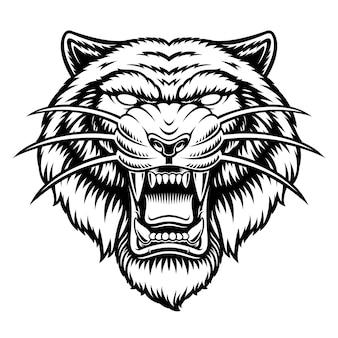 Uma ilustração a preto e branco de uma cabeça de tigre, isolada no fundo branco.