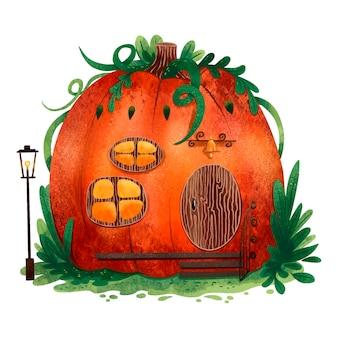 Uma ilustração brilhante de uma casa de abóbora para o halloween com folhas verdes e uma lanterna nas proximidades