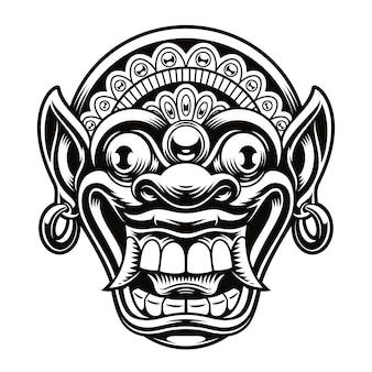 Uma ilustração da máscara tradicional da indonésia. esta ilustração pode ser usada como uma impressão de camisa ou como um logotipo.