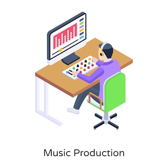 Uma ilustração da moda de gravação de música em estilo isométrico