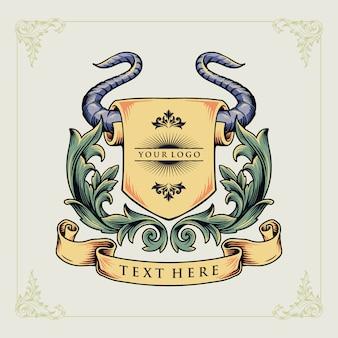 Uma ilustração de conceito animal emblema heráldico de chifre de touro
