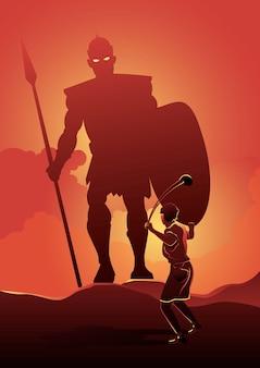 Uma ilustração de davi enfrentando golias no campo de batalha. série bíblica