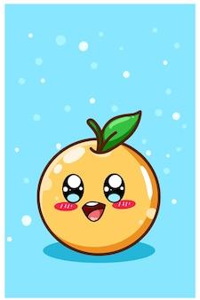 Uma ilustração de desenho animado de fruta laranja fofa e feliz