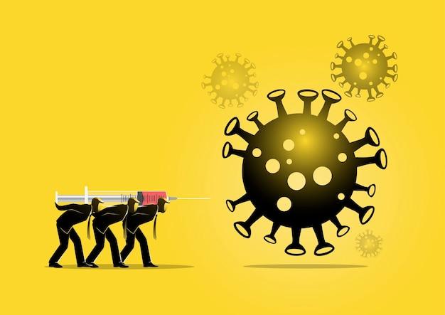 Uma ilustração de empresários segurando uma seringa gigante