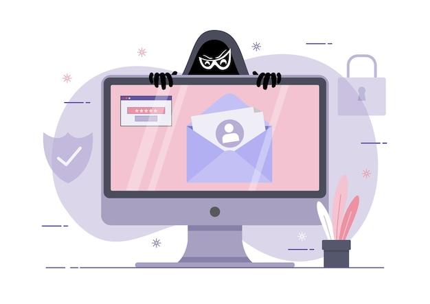 Uma ilustração de esquema de phishing, ataque de hacker no computador desktop. ataque de hackers a crimes de dados, phishing e hacking