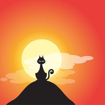 Uma ilustração de gatos pretos do dia das bruxas dos desenhos animados.