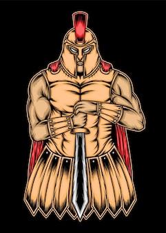 Uma ilustração de guerreiro espartano. vetor premium