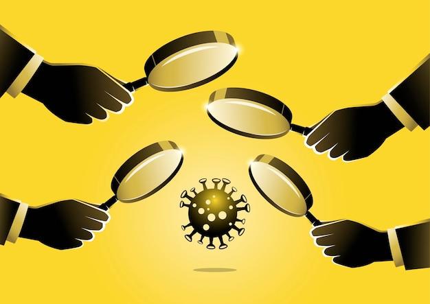 Uma ilustração de mãos com lupas olhando atentamente para o vírus