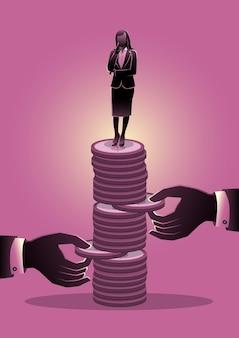 Uma ilustração de mãos tenta puxar a moeda da pilha de moedas com a mulher de negócios. conceito de problema econômico ou crise financeira