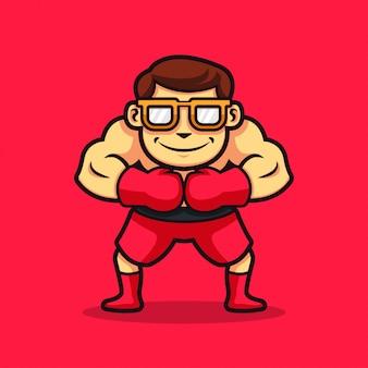 Uma ilustração de personagem de boxe de homem nerd