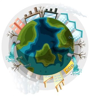 Uma ilustração de terra poluída