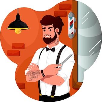 Uma ilustração de um barbeiro com uma tesoura