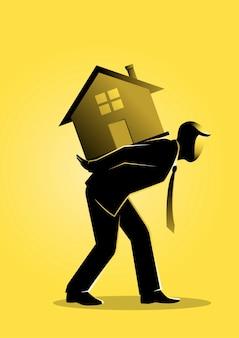 Uma ilustração de um empresário carregando uma casa nas costas