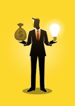 Uma ilustração de um empresário com duas opções nas mãos