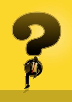 Uma ilustração de um empresário escapando de um ponto de interrogação gigante