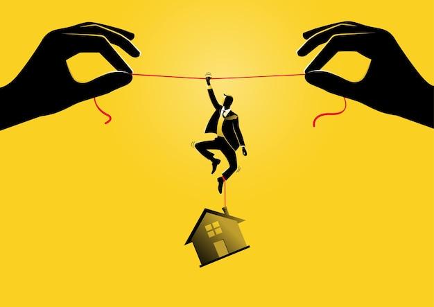 Uma ilustração de um empresário pendurado em uma corda com uma casa pendurada nos pés