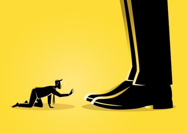 Uma ilustração de um empresário prostrado sob os pés de um chefe