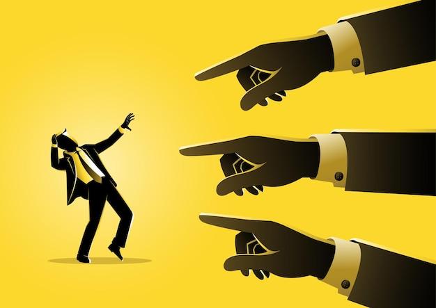 Uma ilustração de um empresário sendo apontado por dedos gigantes