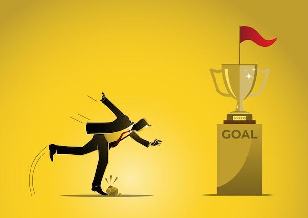 Uma ilustração de um empresário tropeçando perto da meta em fundo amarelo