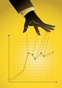 Uma ilustração de um mestre de fantoches controlando o conceito de negócio gráfico