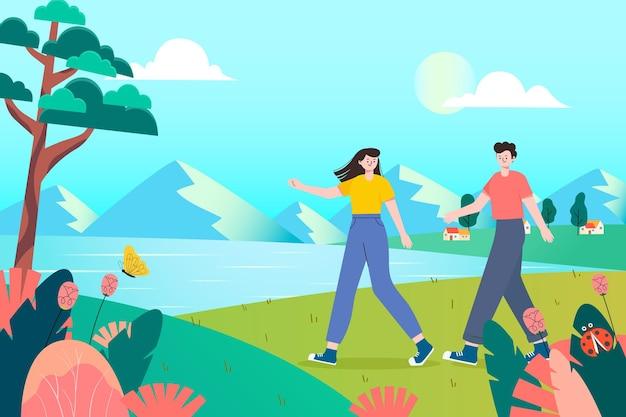 Uma ilustração de um passeio de férias para casais