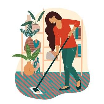 Uma ilustração de uma dona de casa sorridente, esfregando o chão com um esfregão. mulher feliz fazendo o dever de casa