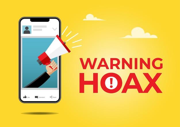 Uma ilustração de uma mão masculina segurando um megafone no celular com notícias falsas