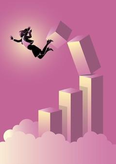 Uma ilustração de uma mulher de negócios caindo de um gráfico desmoronou