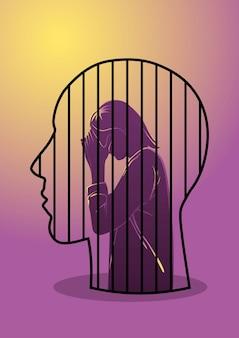 Uma ilustração de uma mulher presa na cabeça de um homem