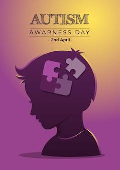 Uma ilustração do dia da conscientização sobre o autismo e peças do quebra-cabeça