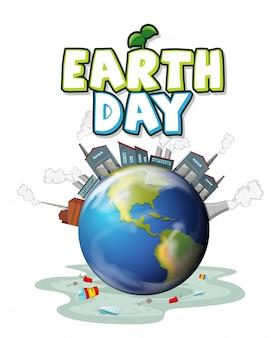Uma ilustração do dia da terra poluída