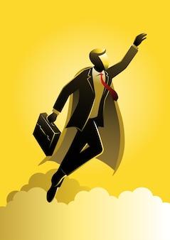 Uma ilustração do empresário herói com super poder voando
