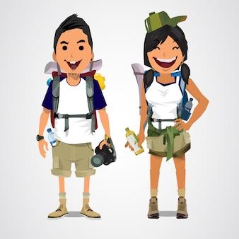 Uma ilustração do menino e da menina do turismo da aventura.