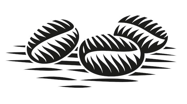 Uma ilustração em preto e branco de grãos de café em estilo de gravura