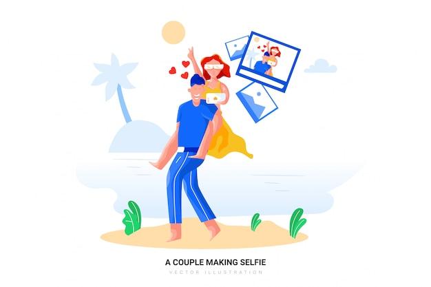 Uma ilustração em vetor casal selfie
