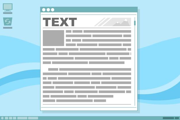 Uma ilustração em vetor de design de interface de exibição com quadro de texto de notícias em fundo azul