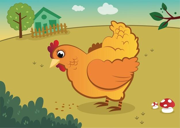 Uma ilustração em vetor de frango amarelo em uma fazenda