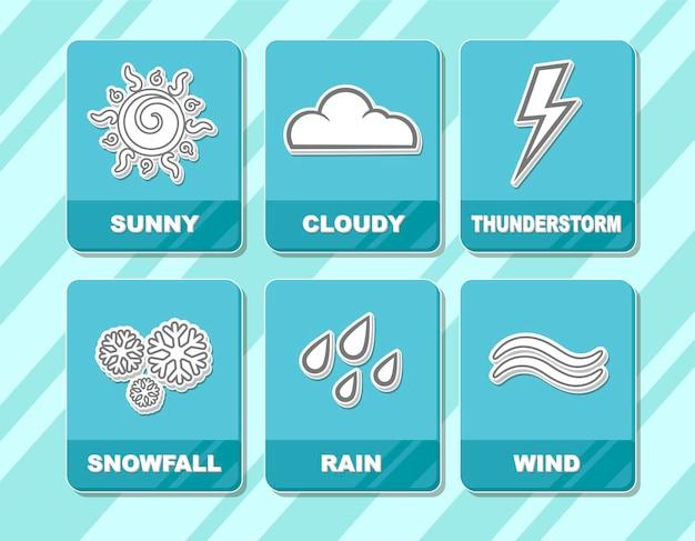 Uma ilustração em vetor de ícones brancos de previsão do tempo em quadrados azuis