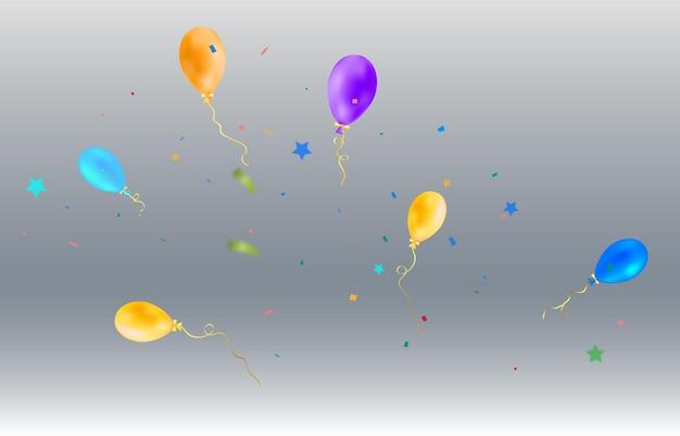 Uma ilustração festiva com balões e balas caindo