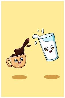 Uma ilustração fofa e feliz dos desenhos animados com café e leite