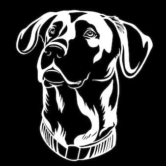 Uma ilustração monocromática de cão de caça preto e branco