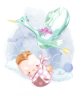 Uma imagem de um bebê recém-nascido para montar um cartão bonito do chá de bebê que flutua no céu com o carteiro da garça-real.