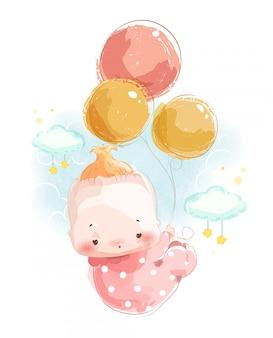 Uma imagem de um bebê recém-nascido para montar um cartão bonito do chuveiro de bebê flutuando no céu com um balão.