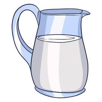 Uma jarra de leite. derivados do leite. leite fresco. produtos agrícolas. ilustração vetorial no estilo cartoon para design e decoração.