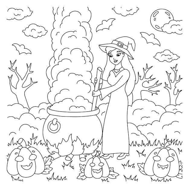 Uma jovem bruxa está preparando uma poção em um caldeirão. página do livro para colorir para crianças