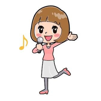 Uma jovem com um gesto de apelo song. personagem de desenho animado.
