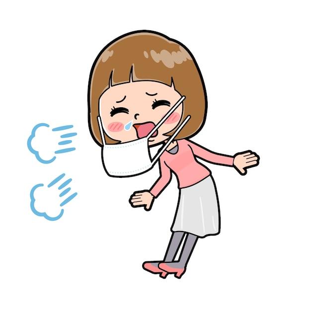 Uma jovem com um gesto de espirro. personagem de desenho animado.