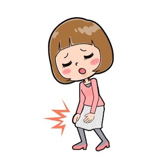 Uma jovem com uma roupa rosa com um gesto de dor no joelho.