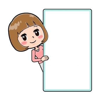 Uma jovem com uma roupa rosa mostrando o quadro em branco